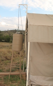 Hot showers were provided in our tents!