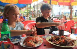 45 minutes later - the crab cooked two ways at a street restaurant