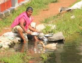 The folks who live by the river use it for washing dishes, clothes, and themselves