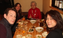 Paul, Keiko, Toshi and Suzanne enjoying yakatori chicken in Akashi