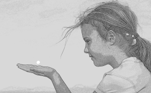 Alex - with the full moon in her hand