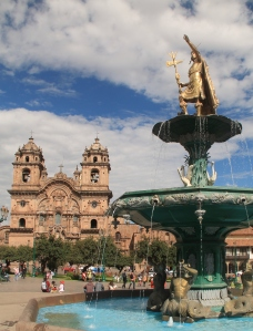 Statue of Pachacutec in Plaza de Armes in Cusco